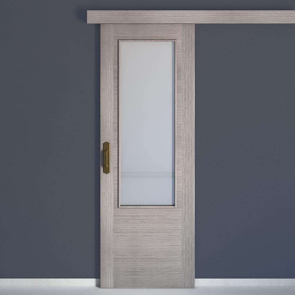 Puerta de interior con cristal niza roble gris ref for Tapajuntas puertas leroy merlin