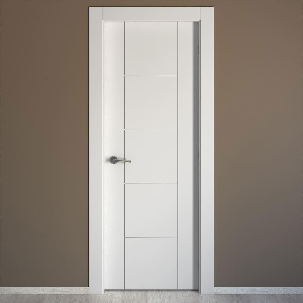 Puerta de interior maciza artens noruega blanca ref for Precios puertas interior blancas