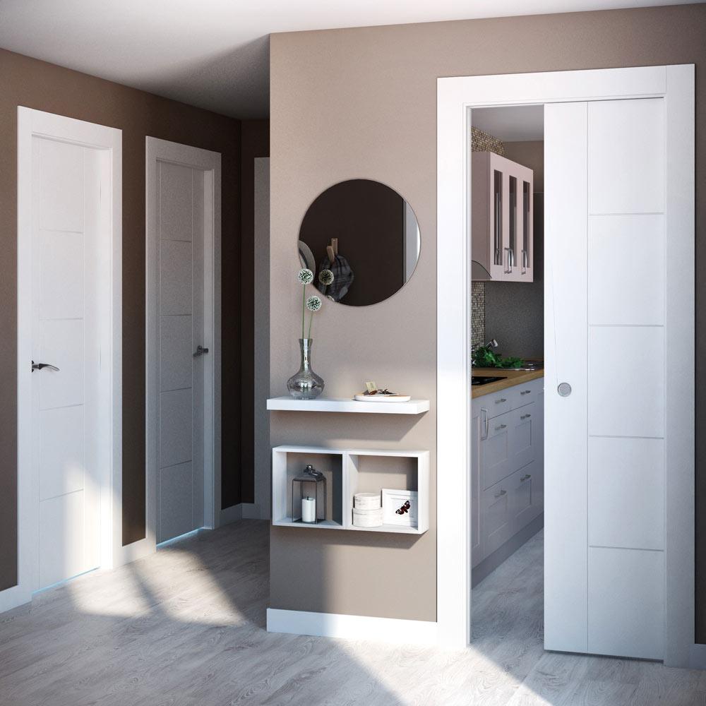 Puerta de interior maciza artens noruega blanca ref - Puertas correderas leroy merlin ...