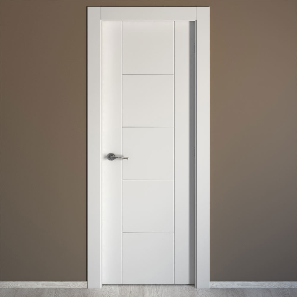 Puerta de interior maciza artens noruega blanca ref for Puerta corredera bano leroy merlin
