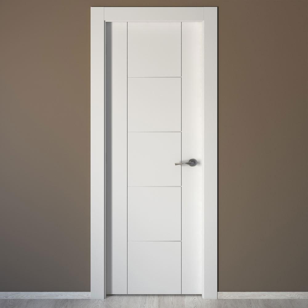 Puerta de interior maciza artens noruega blanca ref for Puertas de madera maciza para interior