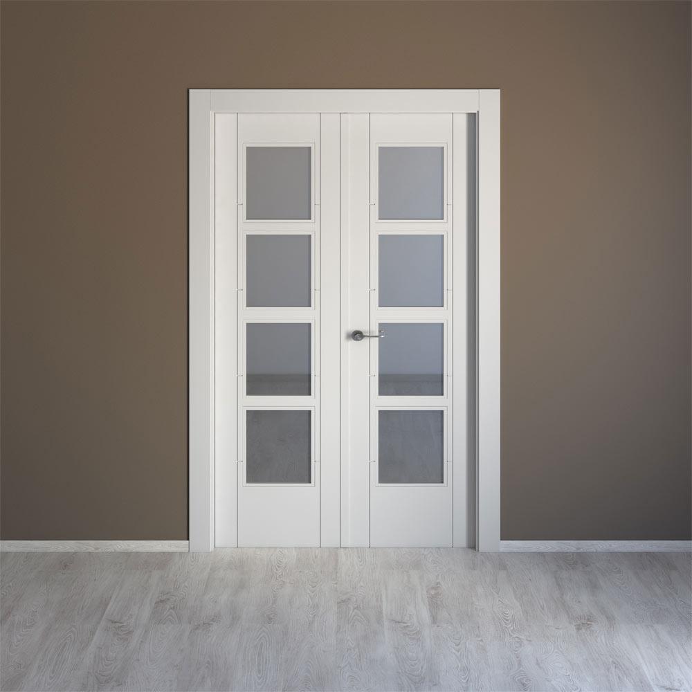 Puerta de interior con cristal artens noruega blanca ref - Cristales para puertas de cocina ...