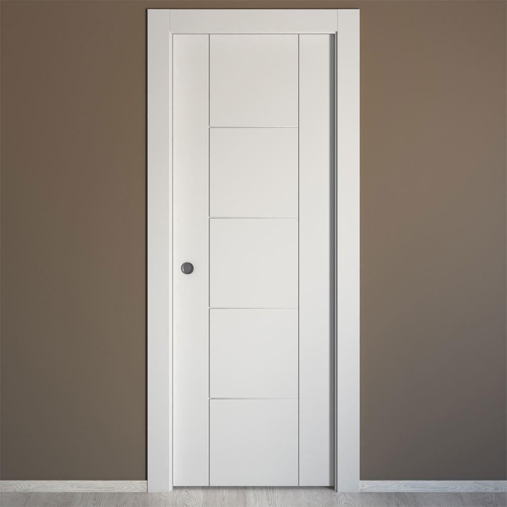 Puerta de interior maciza artens noruega blanca ref - Comodas blancas leroy merlin ...