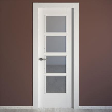 Puerta de interior con cristal artens noruega blanca ref - Cristal grip leroy merlin ...