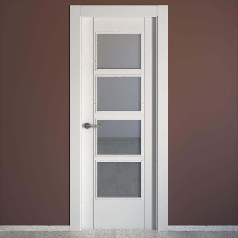 Puerta de interior con cristal artens noruega blanca ref for Cristales para puertas de madera precios