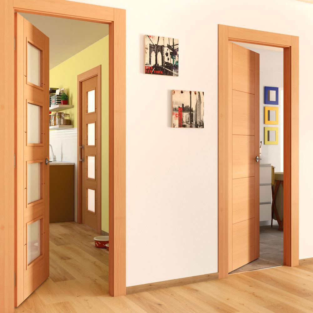 Puerta de interior con cristal noruega haya ref 16150456 for Puertas tipo fuelle