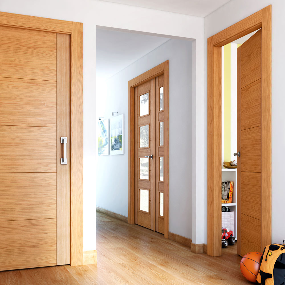 Puerta de interior maciza noruega roble ref 16149700 for Puertas macizas blancas