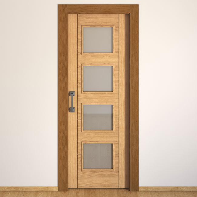 Puerta de interior con cristal noruega roble ref 16149812 for Puertas leroy merlin