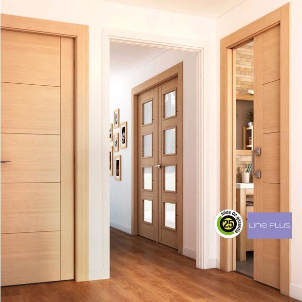 Puerta roble lisa materiales de construcci n para la for Precio puerta roble