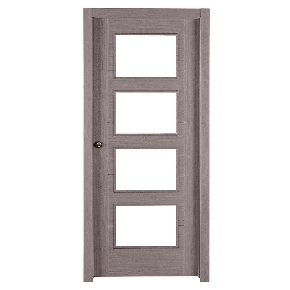 Puerta de interior con cristal noruega roble gris ref - Puertas interior con cristal ...