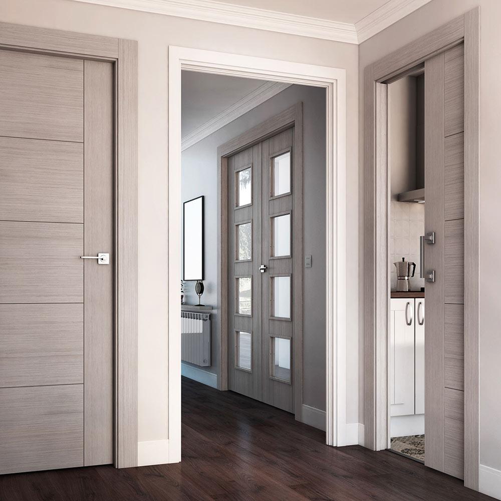 Puerta de interior con cristal noruega roble gris ref for Puertas para interior baratas