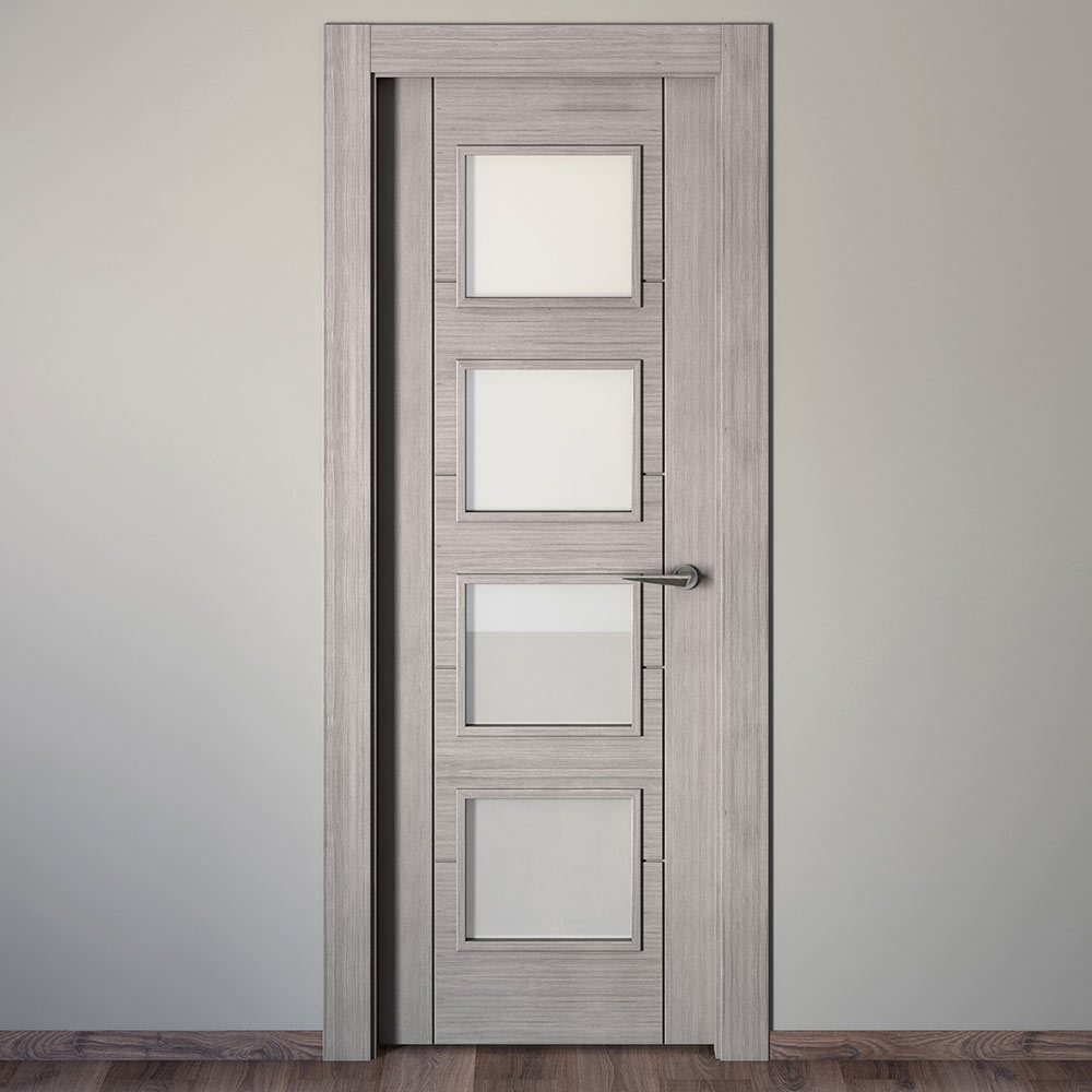 Puerta de interior con cristal noruega roble gris ref for Cristales para puertas de interior en barcelona