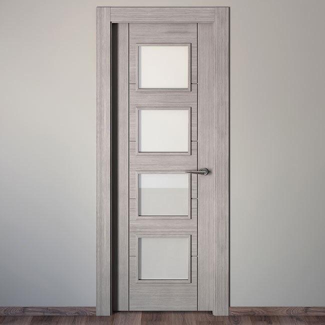 Puerta de interior con cristal noruega roble gris ref - Puertas leroy merlin madera ...