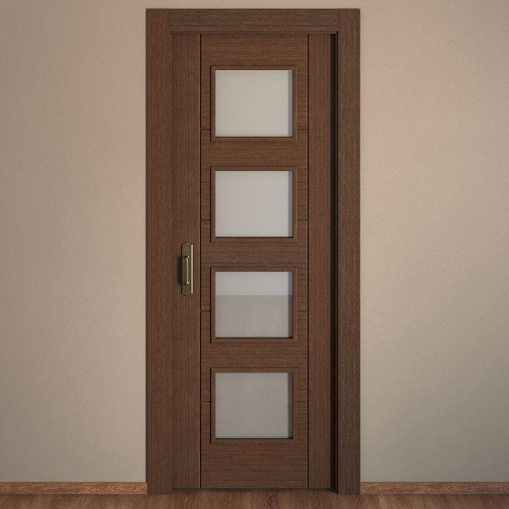 Puerta de interior con cristal noruega wengue ref for Puertas cristal interior