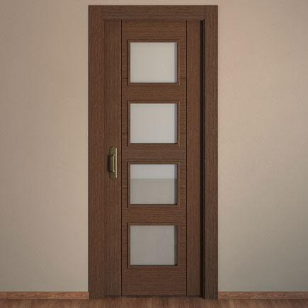 Puerta de interior con cristal noruega wengue ref for Puertas wengue leroy merlin