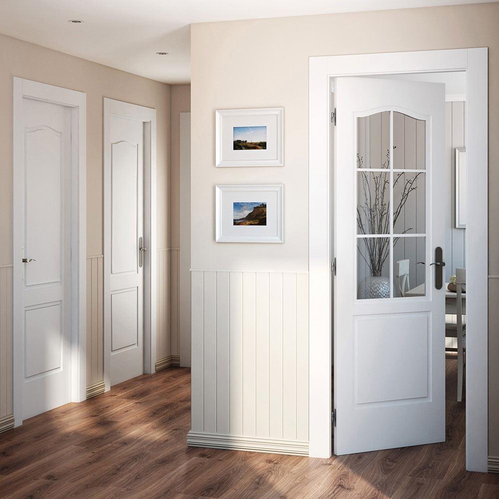 Puerta de interior praga blanca ref 14995246 leroy merlin - Puertas de interior con cristales ...