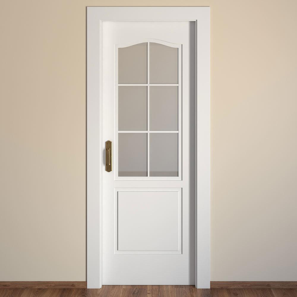 puerta de interior con cristal praga blanca ref 15718444