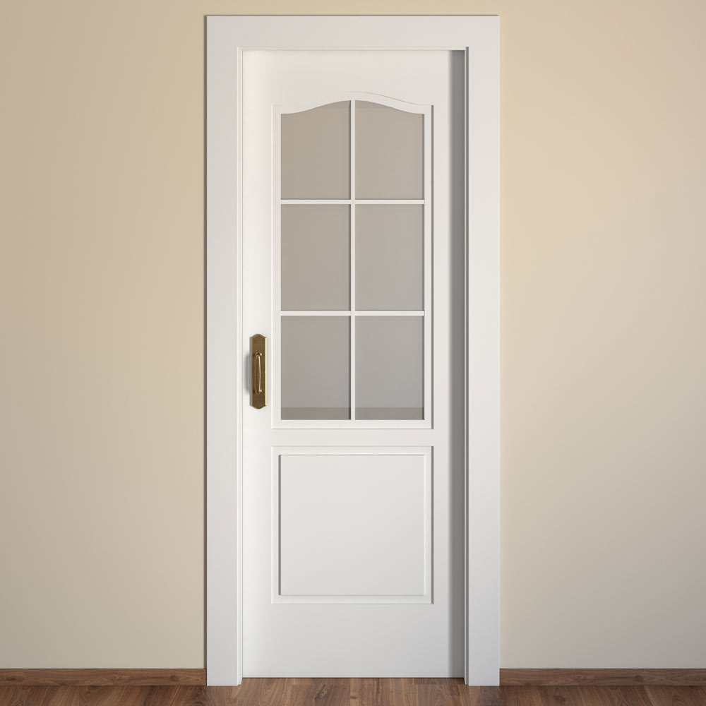 Puerta de interior con cristal praga blanca ref 15718633 for Puertas madera y cristal interior