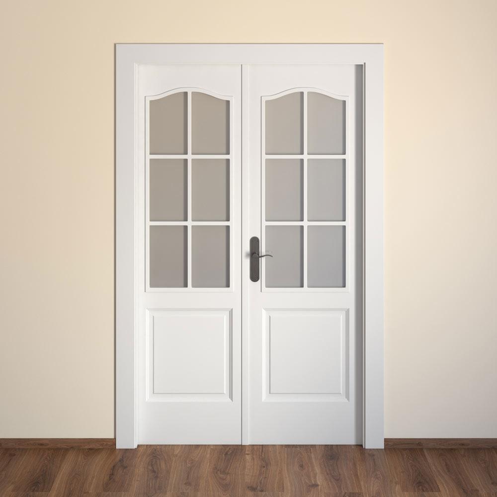 Puerta de interior con cristal praga blanca ref 15719151 for Puertas dobles de madera interior
