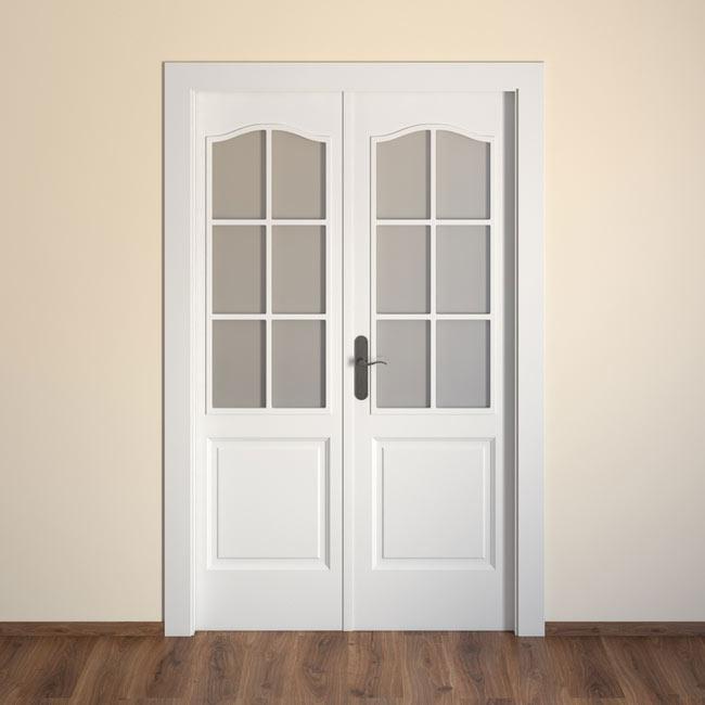Puerta de interior con cristal praga blanca ref 15719151 for Puerta blanca cristal