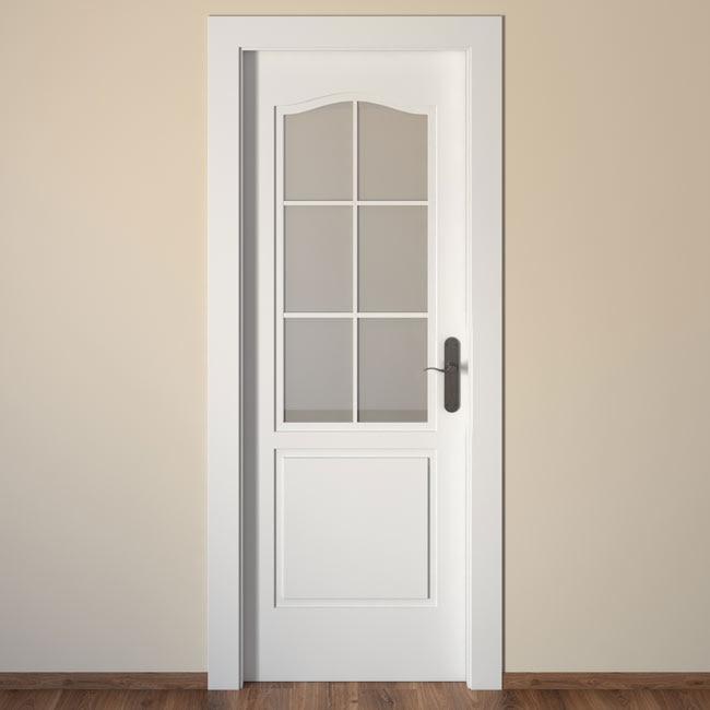 Puerta de interior con cristal praga blanca ref 15719186 - Puertas lacadas en blanco leroy merlin ...