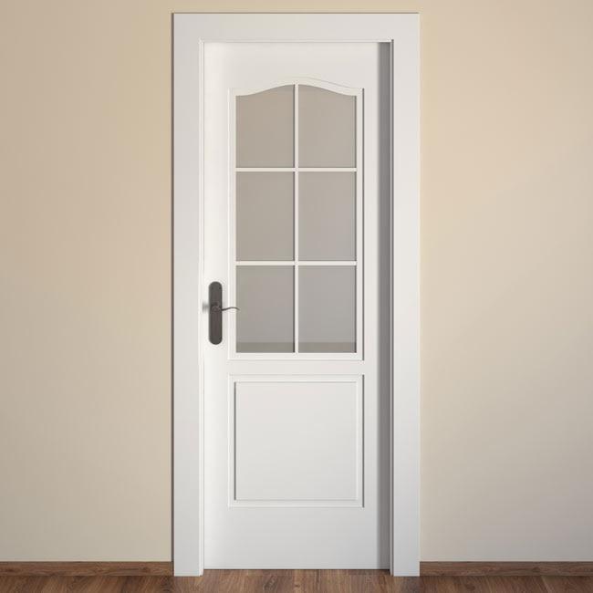 Puerta de interior con cristal praga blanca ref 15719263 - Puertas exterior leroy ...