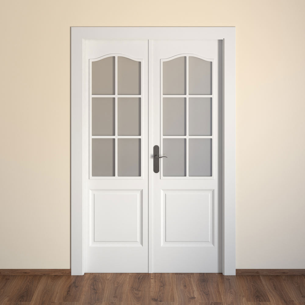 Puerta de interior con cristal praga blanca ref 15719403 for Puertas madera y cristal interior