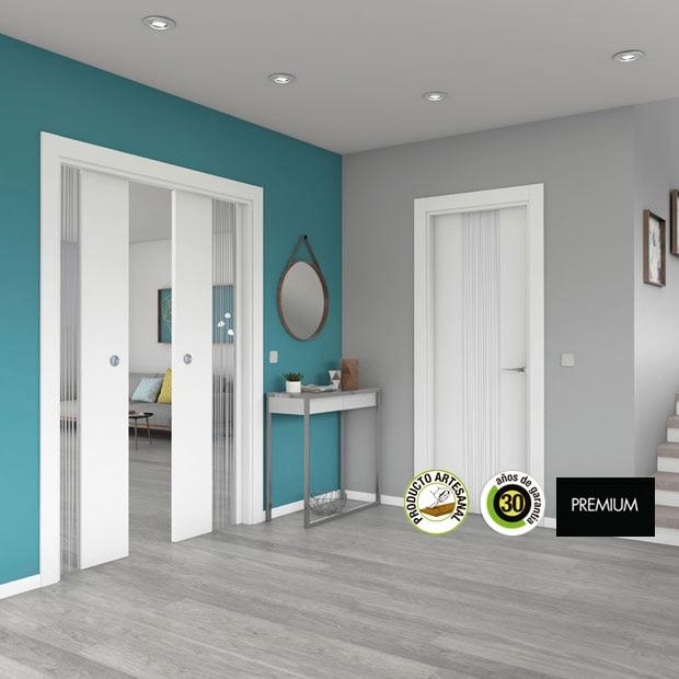 Puertas de interior de madera leroy merlin for Suelo gris y puertas blancas