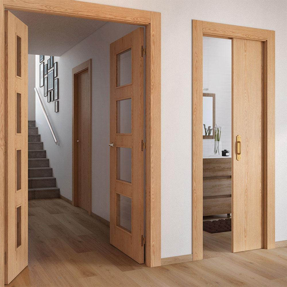 Puerta de interior con cristal sidney roble ref 16779455 leroy merlin - Puertas cristal interior ...