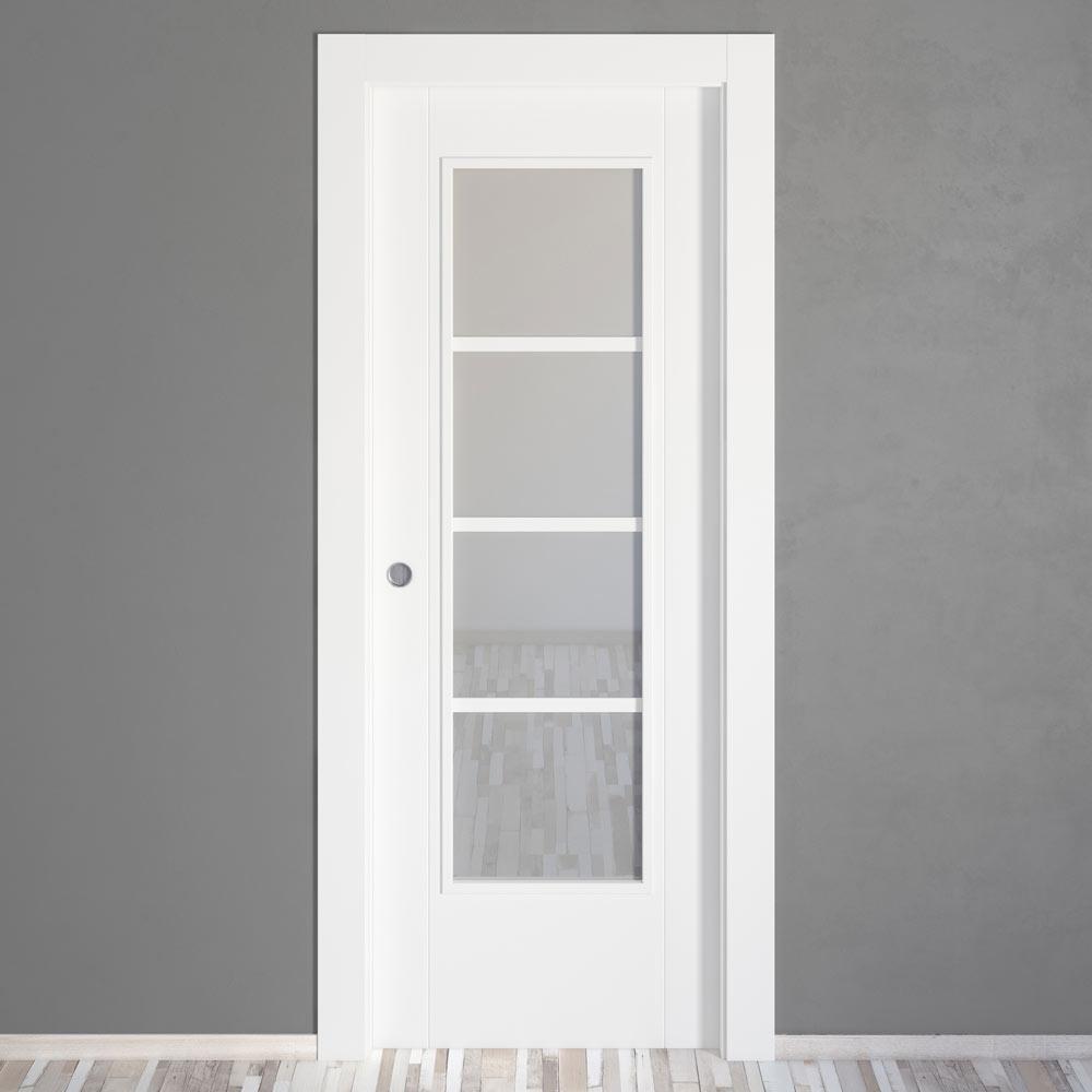 Puerta de interior con cristal suiza blanca ref 15717156 for Puerta corredera bano leroy merlin