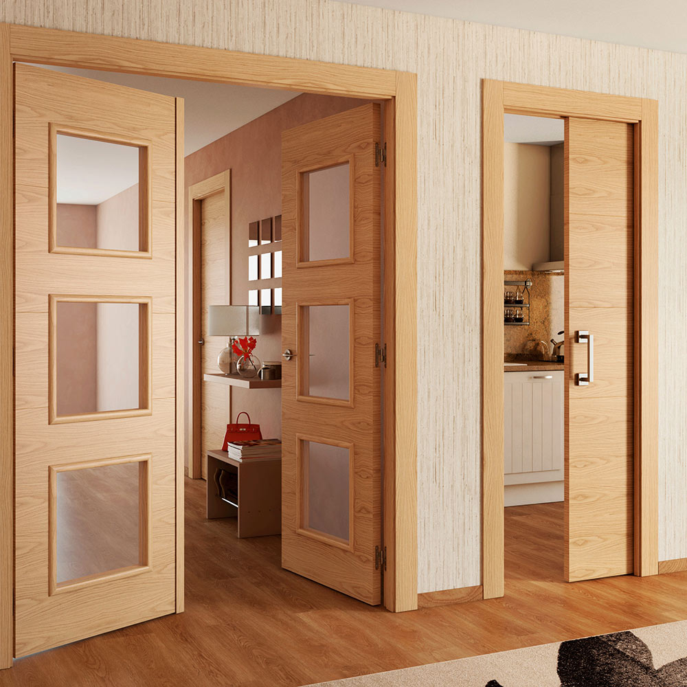 Puerta de interior con cristal viena roble ref 15721853 - Cristales puertas interiores ...