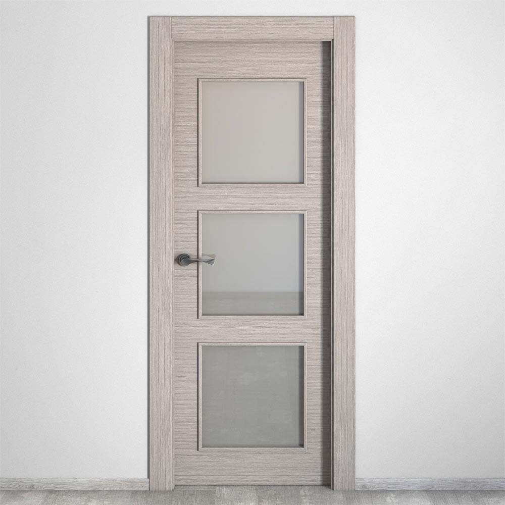 Puerta de interior con cristal viena roble gris ref - Puertas interior cristal ...
