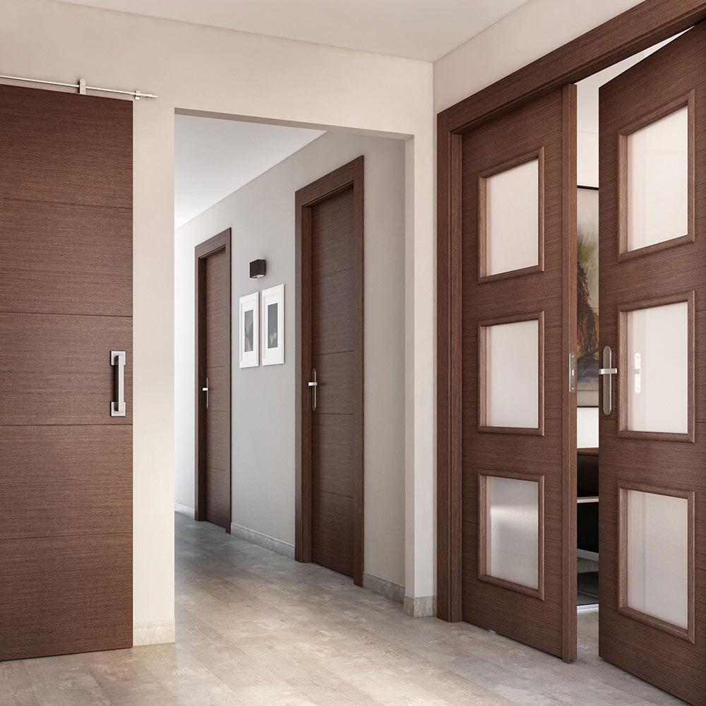 Puerta de interior con cristal viena wengue ref 16778615 for Puertas cristal interior