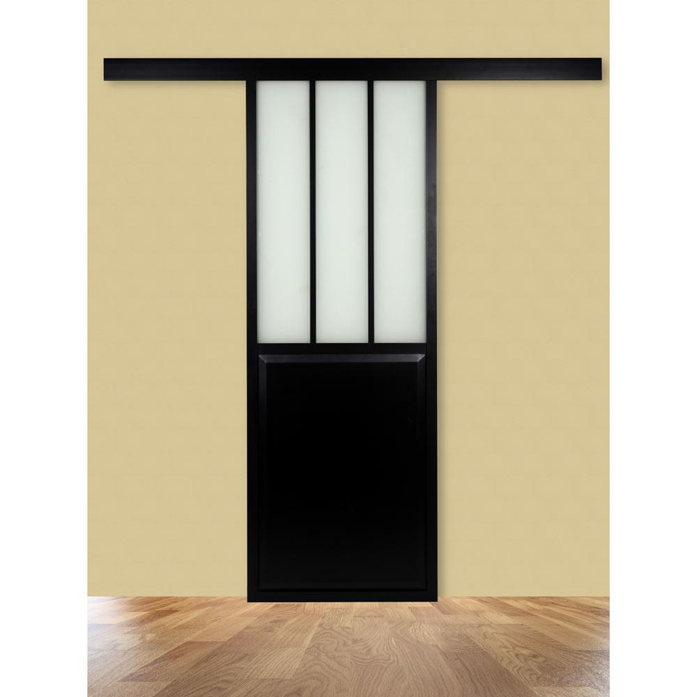 Gu a para puerta corredera de madera gu a negra ref - Guias puertas correderas ...