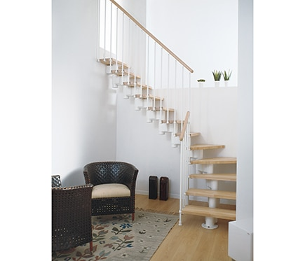 Escalera 1 4 de giro long en l ref 13927543 leroy merlin for Comodas leroy merlin