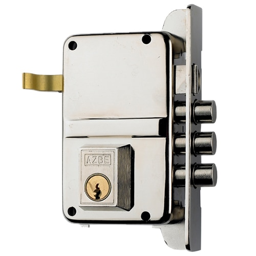 Cerradura para puerta de madera azbe 8 niquelado ref for Puertas de chapa para exterior