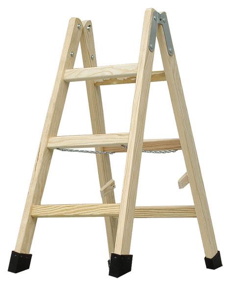 Escalera de madera haya 3 pelda os 1m barniz ref 19150341 - Escaleras de peldanos ...