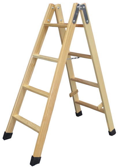 Escalera de madera 4 4 pelda os sin barniz ref for Escaleras de madera para pintor precios