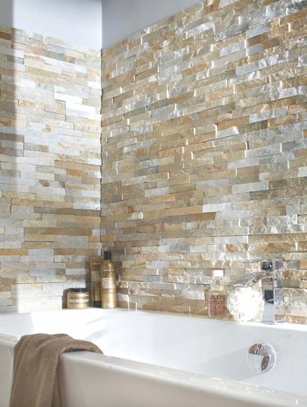 Revestimiento de piedra natural 40x15 minilaja cuarcita for Plaquetas decorativas para exterior