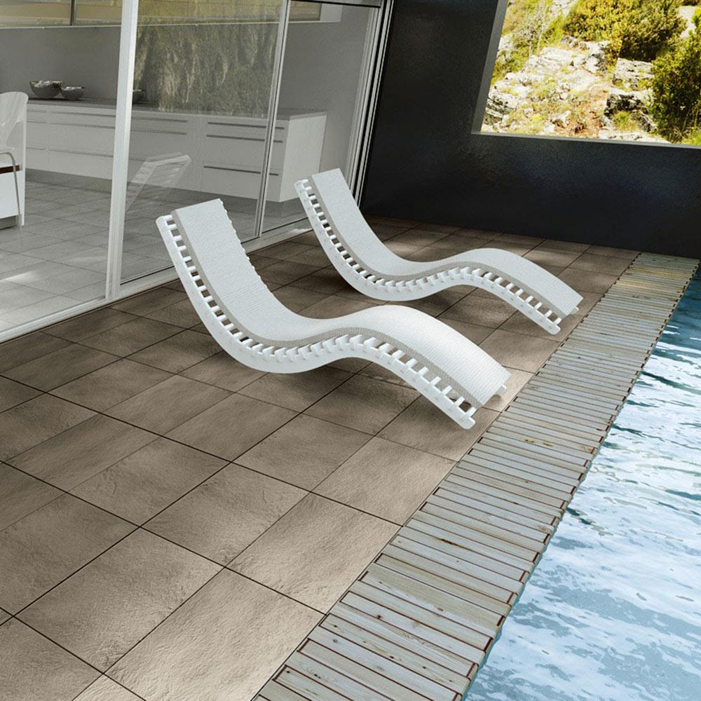 Revestimiento 30x60 cm beige antideslizante serie pizarra - Baldosas exterior leroy merlin ...