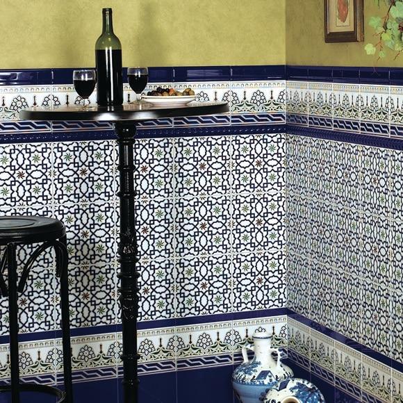 Moldura 5x20 cm azul serie andalusi ref 17677324 leroy - Molduras decorativas leroy merlin ...