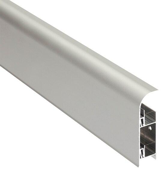 Z calo 2 m x 80 mm plata mate serie pelda os y torelos - Zocalo cocina aluminio leroy merlin ...
