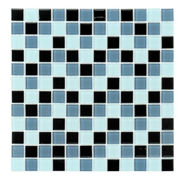 Malla 30 x 30 cm mix negro gris blanco cristal serie for Leroy merlin mosaico decorativo