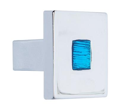 Pomo cuadrado cromo brillo azul serie deco marino ref for Compensato marino leroy merlin