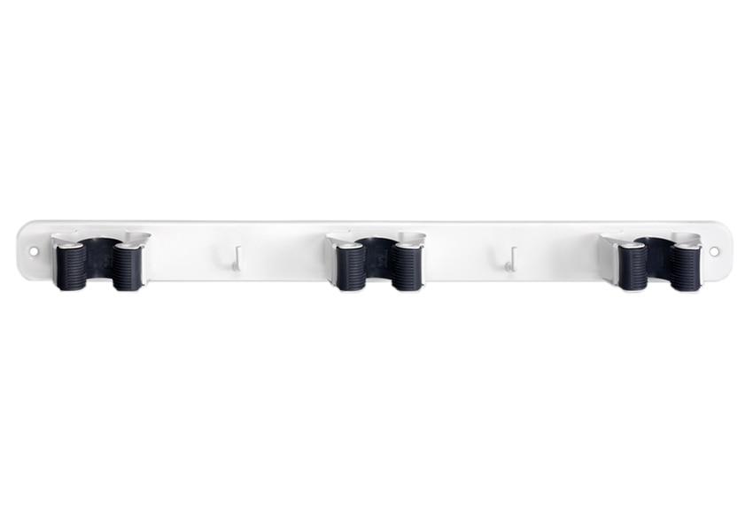 Colgador triple para escoba ref 10350242 leroy merlin for Gancho adhesivo pared