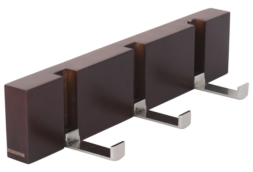 Perchero madera cerezo 3 ganchos abatibles ref 17655463 for Ganchos para percheros