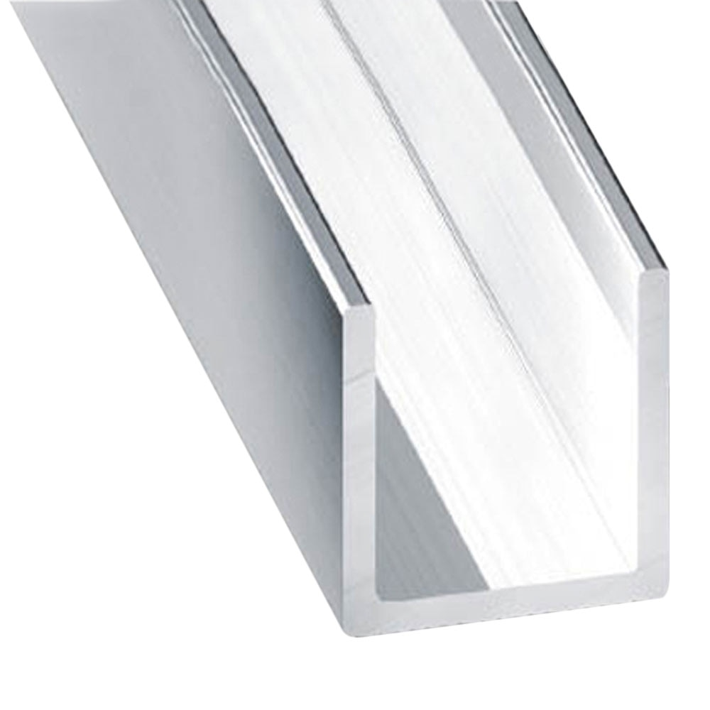 Perfil en u aluminio anodizado brillo plata ref 13843256 - Perfil de aluminio en u ...