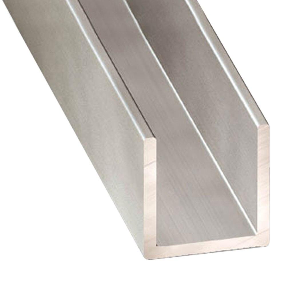 perfil en u aluminio anodizado inox gris plata ref