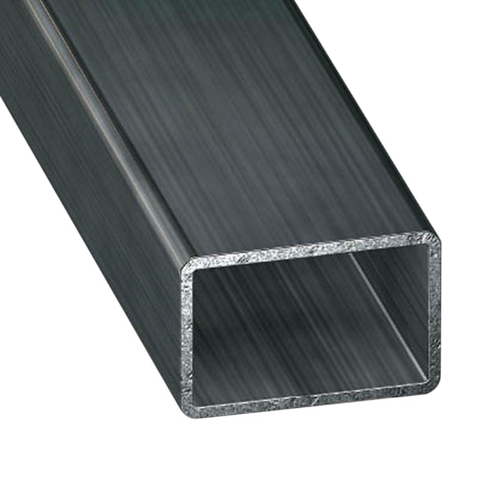 Tubo rectangular acero fr o gris grafito ref 69125 for Tubos de hierro rectangulares