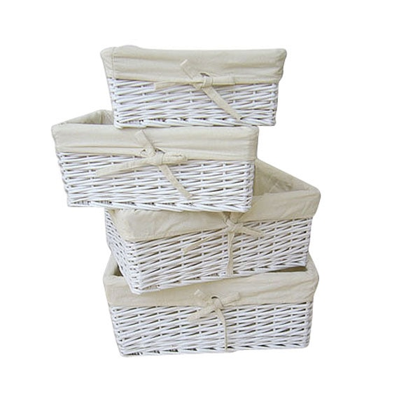 Lote de 4 cestas de rat n blanco ref 14597576 leroy merlin for Cajas almacenaje leroy merlin
